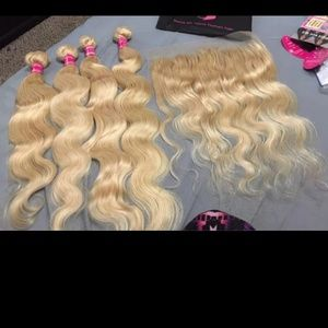 613 Blonde Bundles w Frontal Brazilian